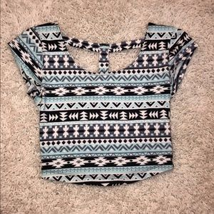 Charlotte Russe size XS patterned crop top.